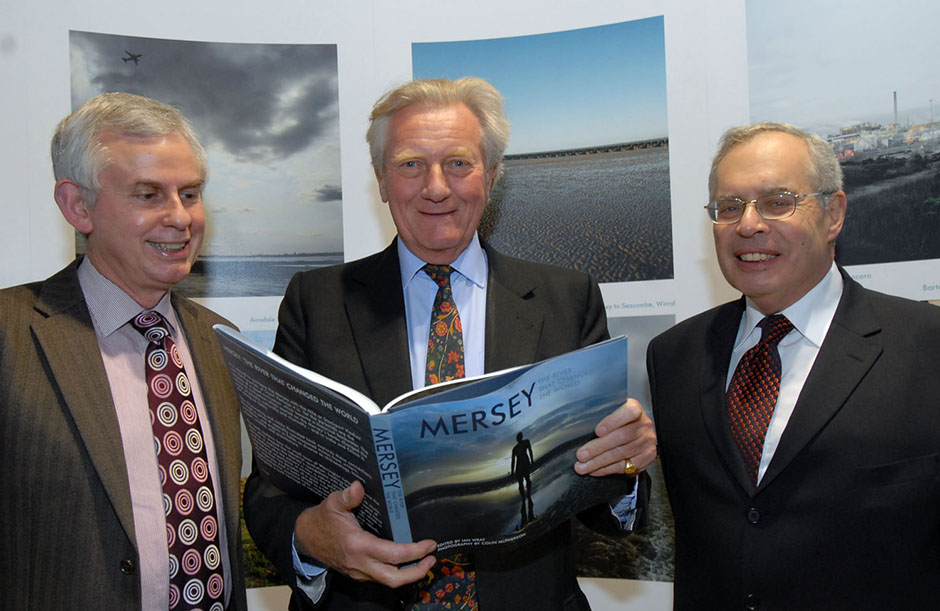 Peter Batey, Lord Heseltine and former chair Joe Dwek MBE at the launch of <i>Mersey: The River that Changed the World</i>, December 2007.