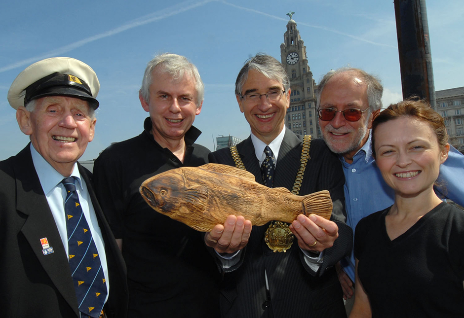 Sammy the Salmon successfully reaches the Pier Head, Liverpool to be greeted by the Lord Mayor of Liverpool. Mersey Baton Relay, June 2007.